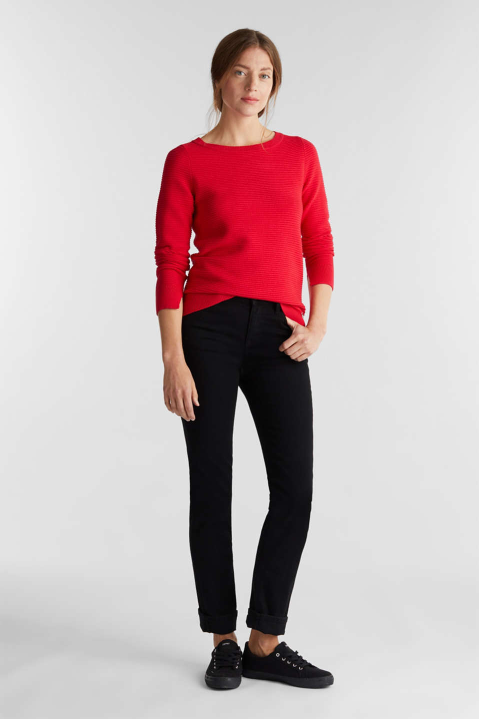 Basic jumper with a ribbed texture, RED, detail image number 1