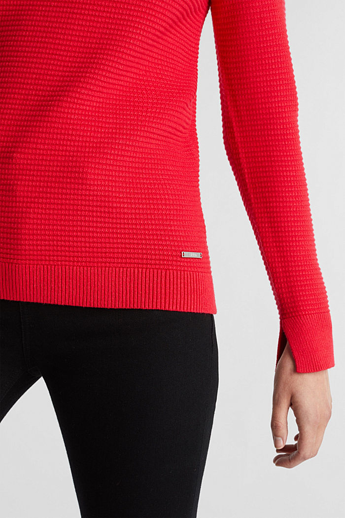 Basic-Pullover mit Ripp-Struktur, RED, detail image number 2