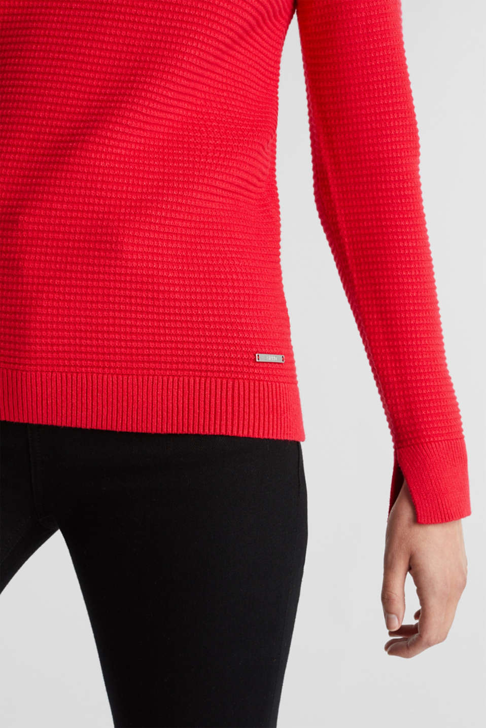 Basic jumper with a ribbed texture, RED, detail image number 2