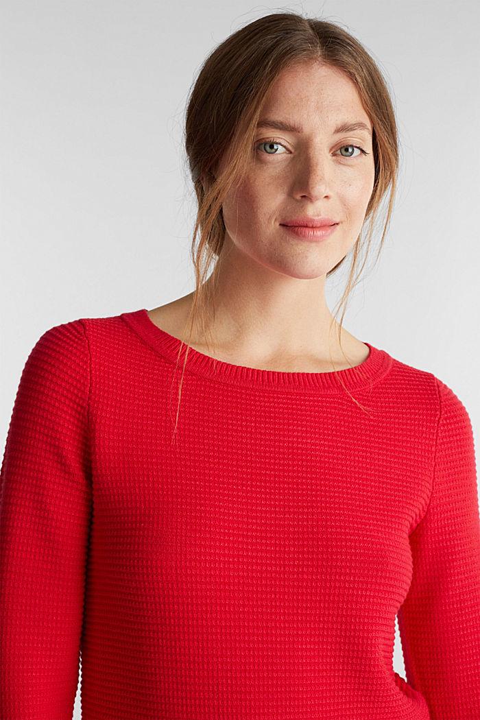 Basic-Pullover mit Ripp-Struktur, RED, detail image number 5