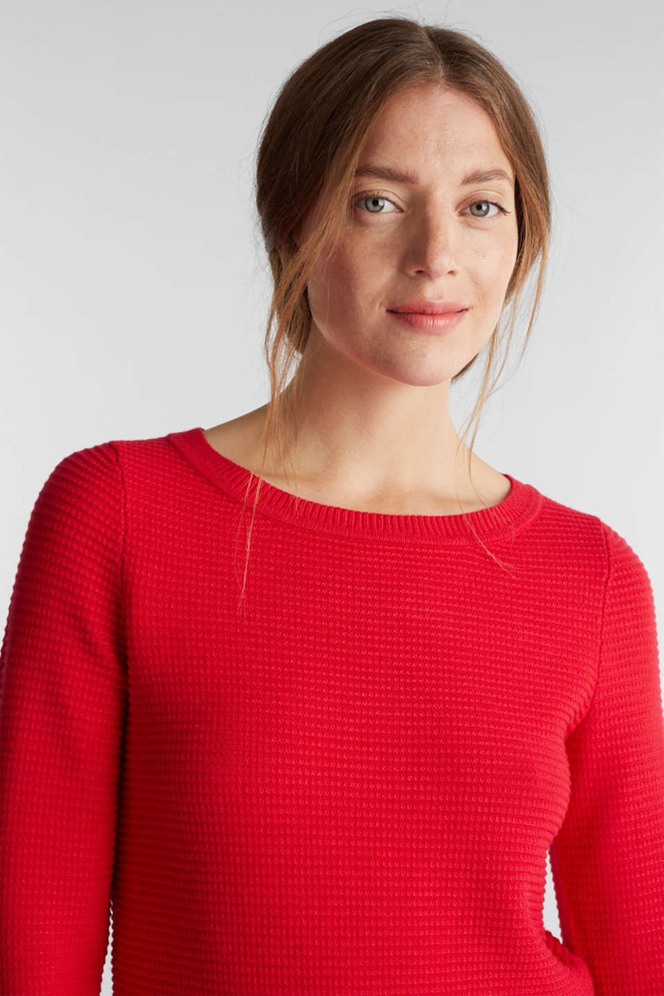 Basic jumper with a ribbed texture, RED, detail image number 5
