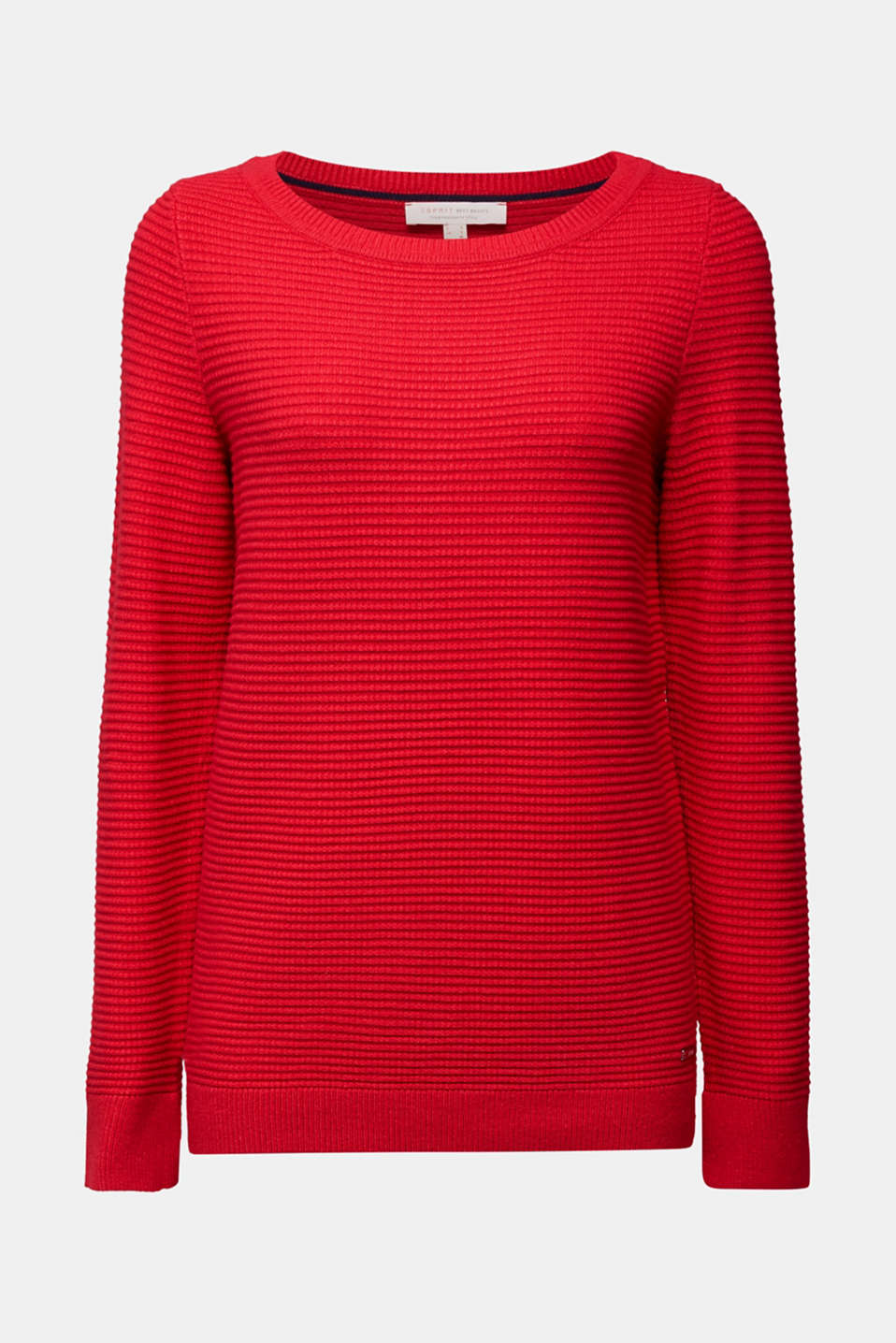 Basic jumper with a ribbed texture, RED, detail image number 6
