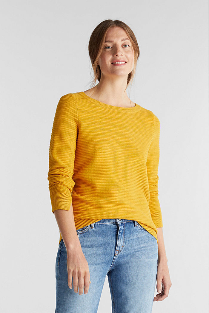 Basic jumper with a ribbed texture, BRASS YELLOW, detail image number 0