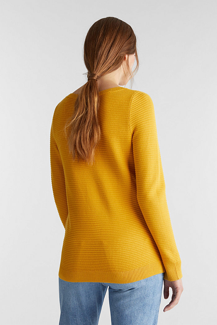 Basic jumper with a ribbed texture, BRASS YELLOW, detail image number 2