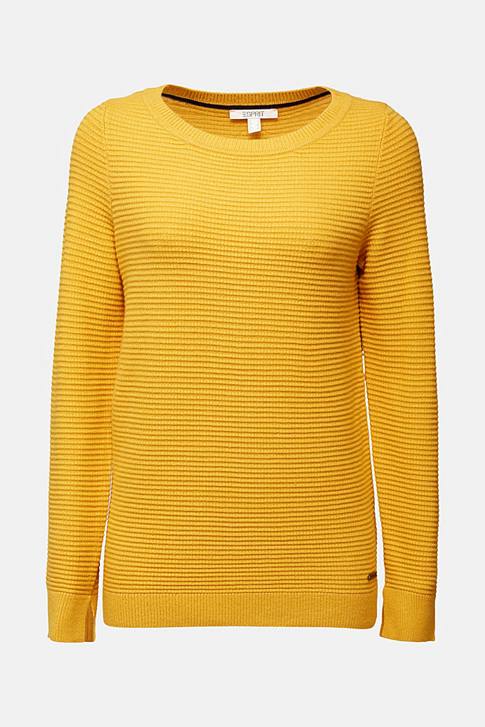 Basic jumper with a ribbed texture, BRASS YELLOW, detail image number 5
