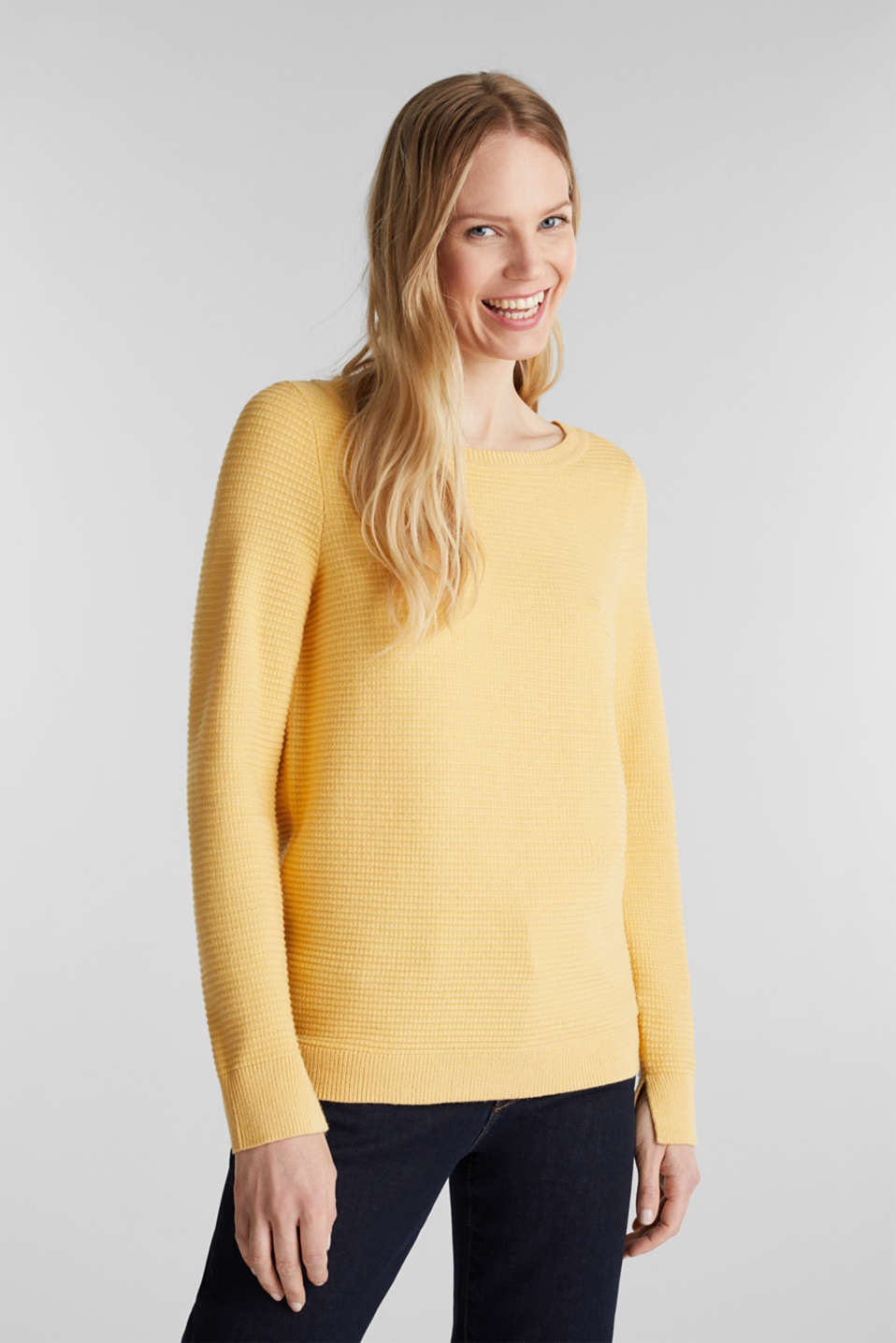 Basic jumper with a ribbed texture, YELLOW, detail image number 0