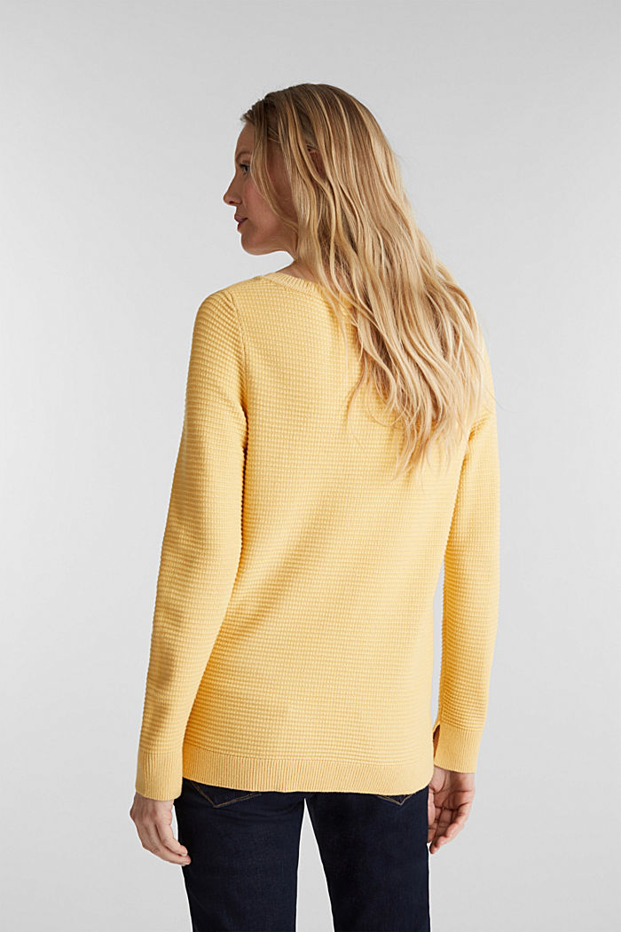 Basic jumper with a ribbed texture, YELLOW, detail image number 3
