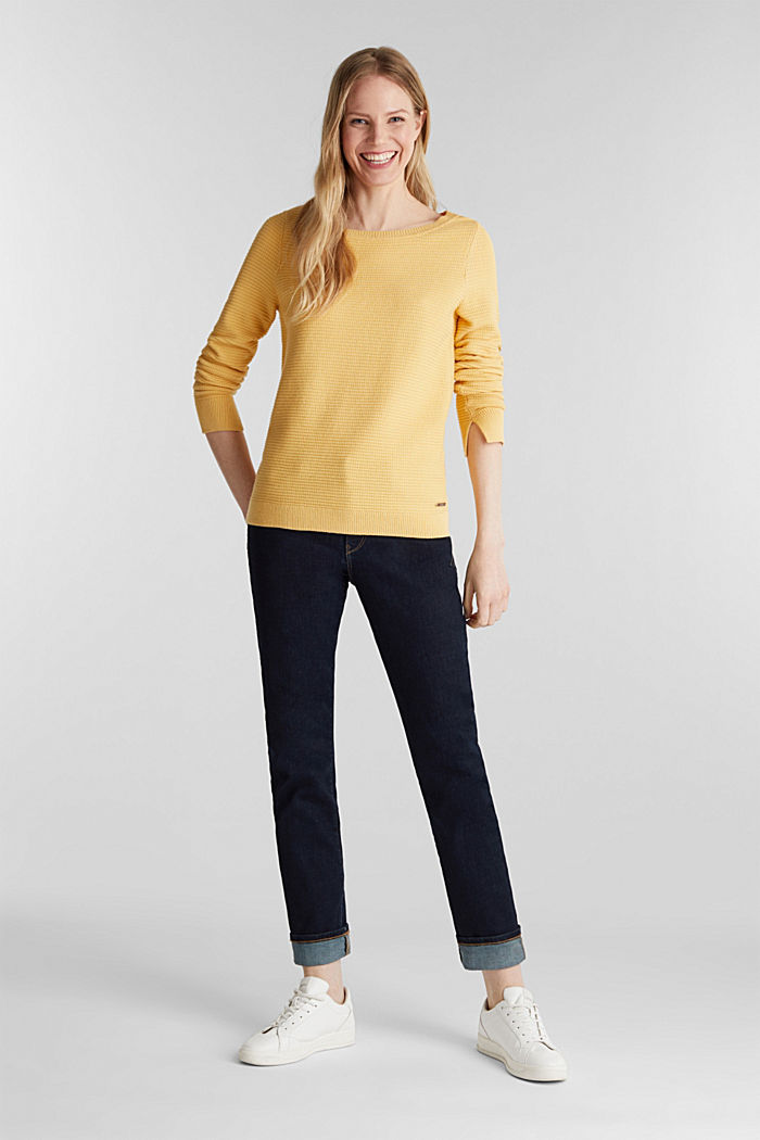 Basic jumper with a ribbed texture, YELLOW, detail image number 1