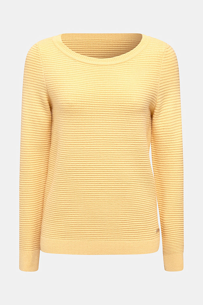 Basic jumper with a ribbed texture, YELLOW, detail image number 5