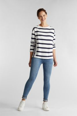 Striped long sleeve top, 100% cotton, OFF WHITE, detail
