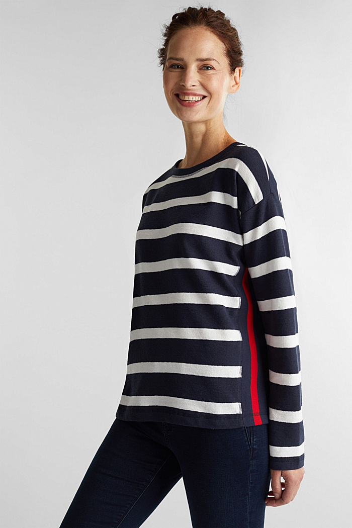 Striped long sleeve top, 100% cotton, NAVY, detail image number 0