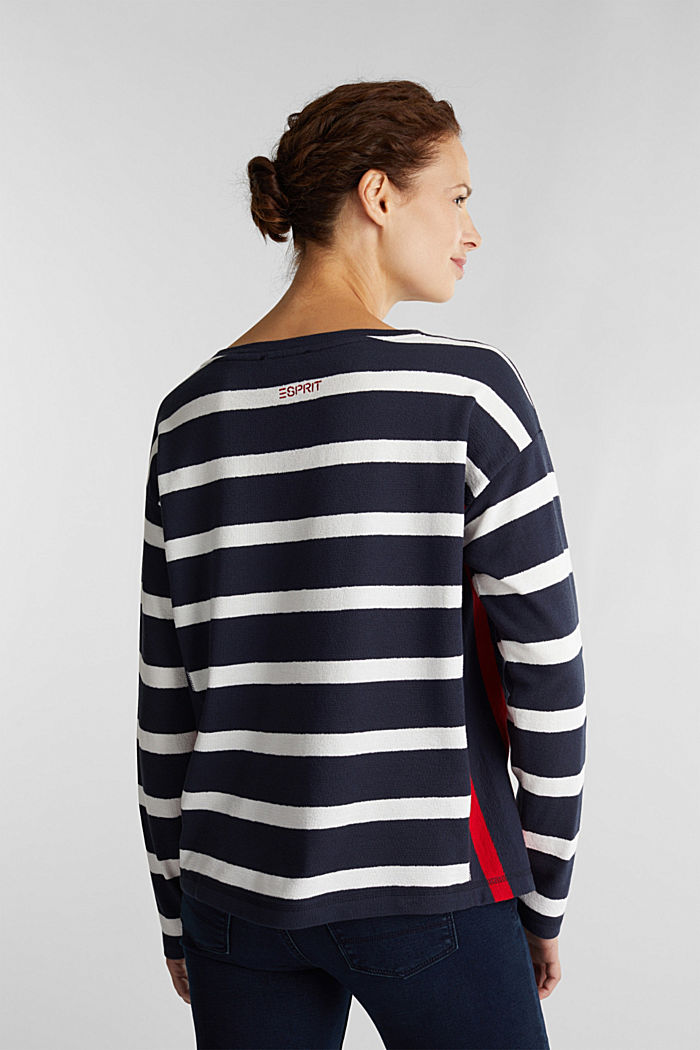 Striped long sleeve top, 100% cotton, NAVY, detail image number 3