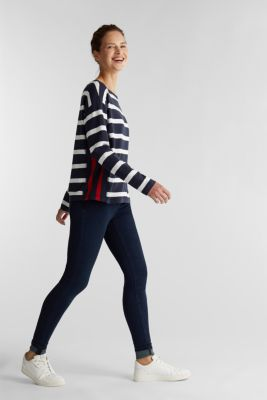 Striped long sleeve top, 100% cotton, NAVY, detail