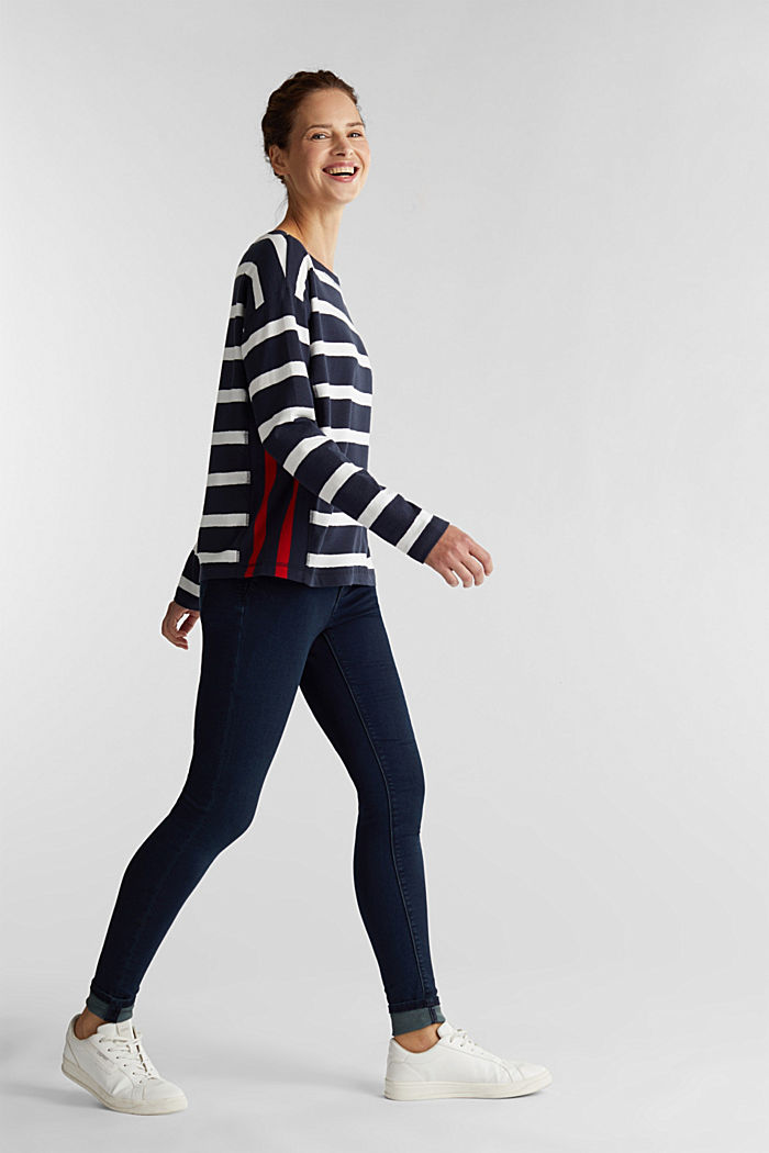 Striped long sleeve top, 100% cotton, NAVY, detail image number 1