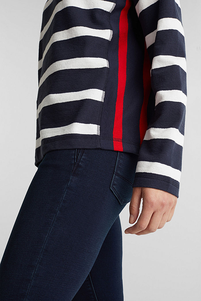 Striped long sleeve top, 100% cotton, NAVY, detail image number 2
