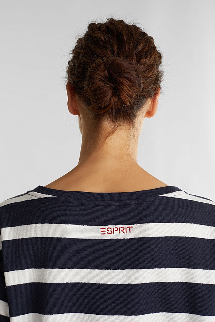 Striped long sleeve top, 100% cotton, NAVY, detail image number 5