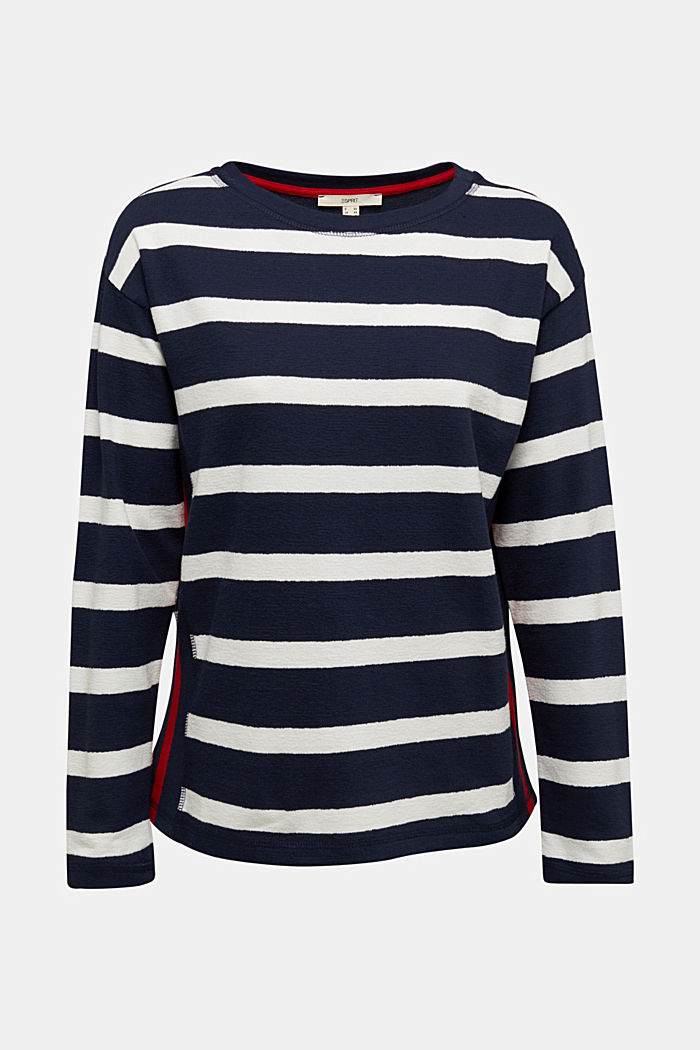 Striped long sleeve top, 100% cotton, NAVY, detail image number 6