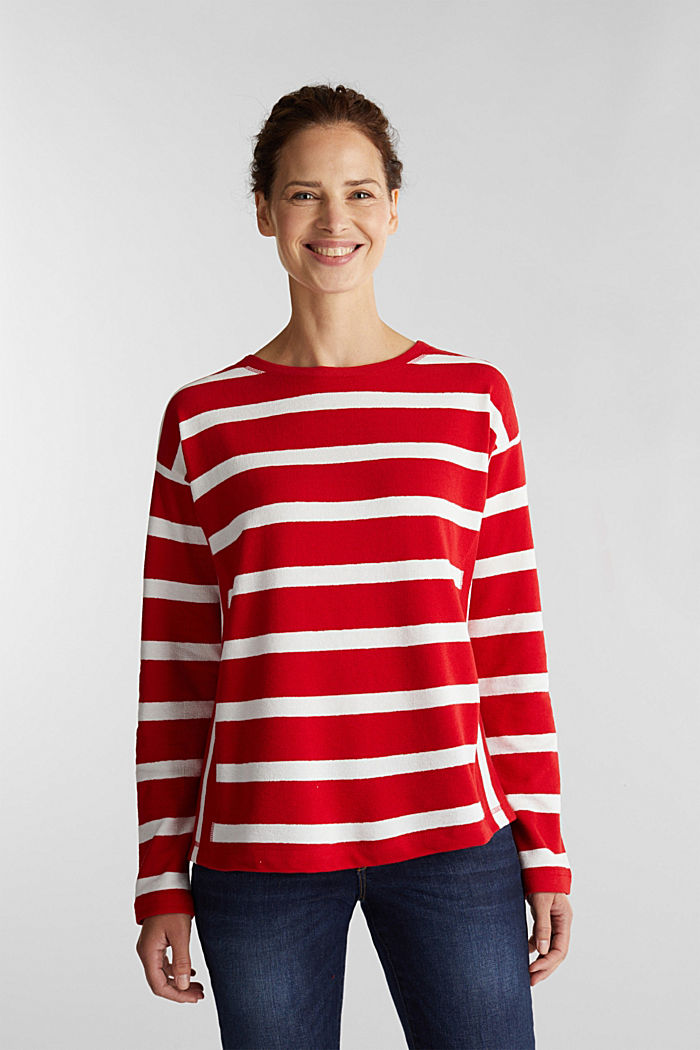 Striped long sleeve top, 100% cotton, DARK RED, detail image number 0