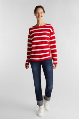 Striped long sleeve top, 100% cotton, DARK RED, detail