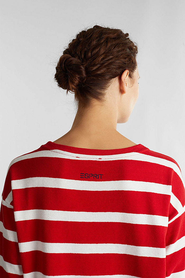 Striped long sleeve top, 100% cotton, DARK RED, detail image number 5