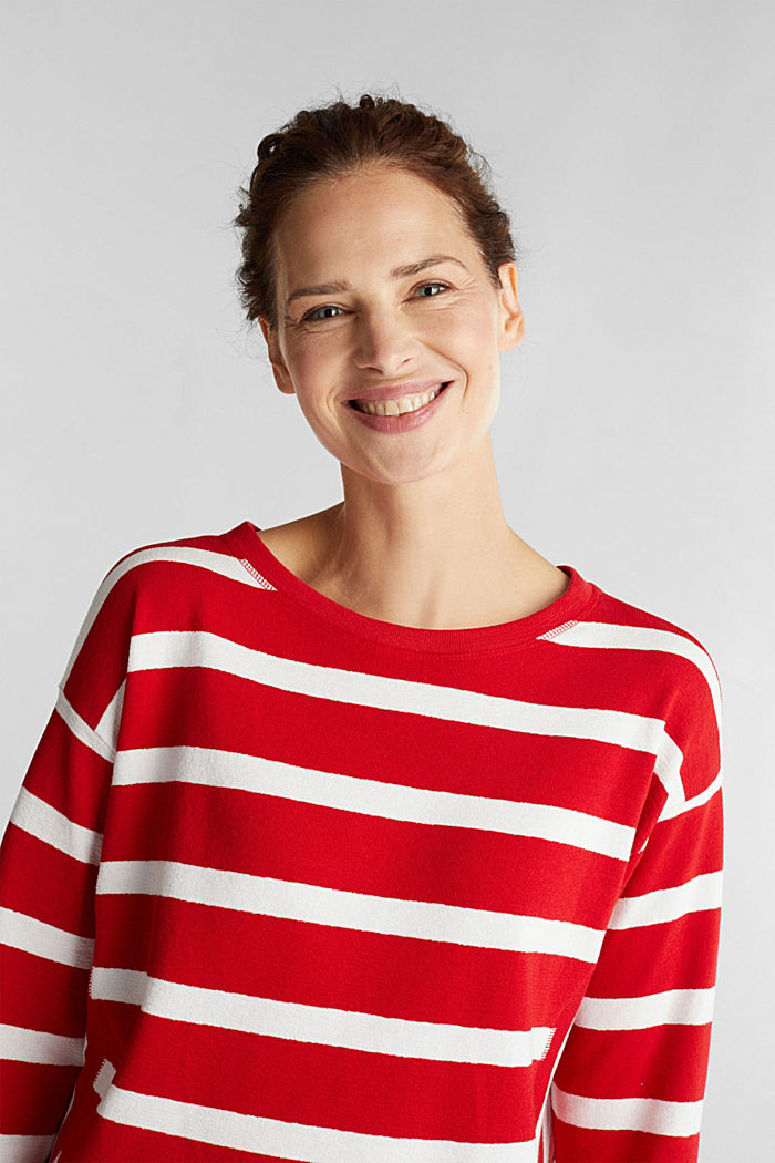 Striped long sleeve top, 100% cotton, DARK RED, overview