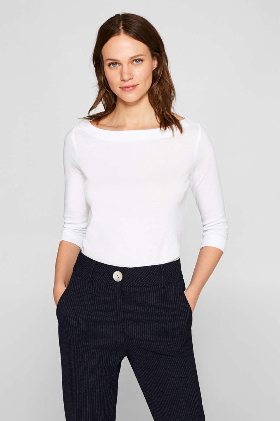 Bateau neckline top, 100% cotton, WHITE, detail image number 0