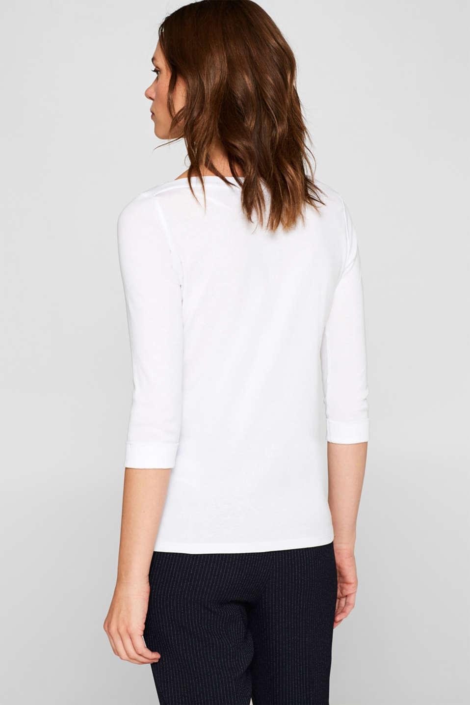 Bateau neckline top, 100% cotton, WHITE, detail image number 3