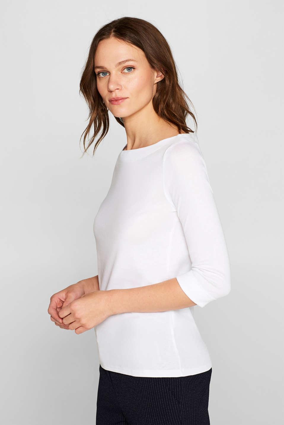Bateau neckline top, 100% cotton, WHITE, detail image number 5