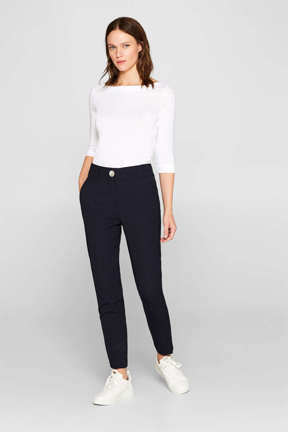 Bateau neckline top, 100% cotton, WHITE, detail image number 1