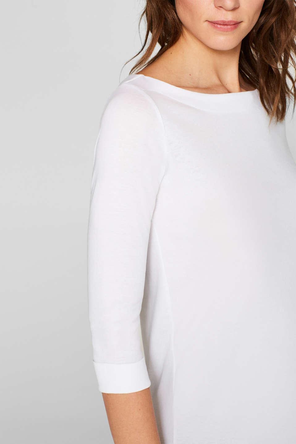Bateau neckline top, 100% cotton, WHITE, detail image number 2