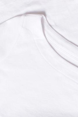 Bateau neckline top, 100% cotton, WHITE, detail