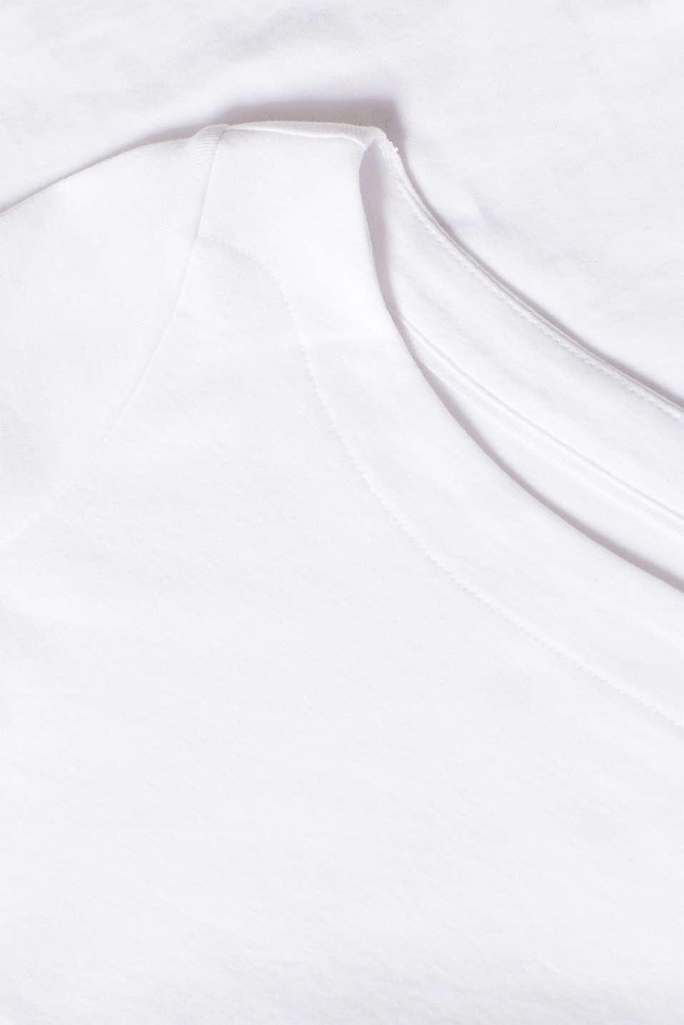 Bateau neckline top, 100% cotton, WHITE, detail image number 4