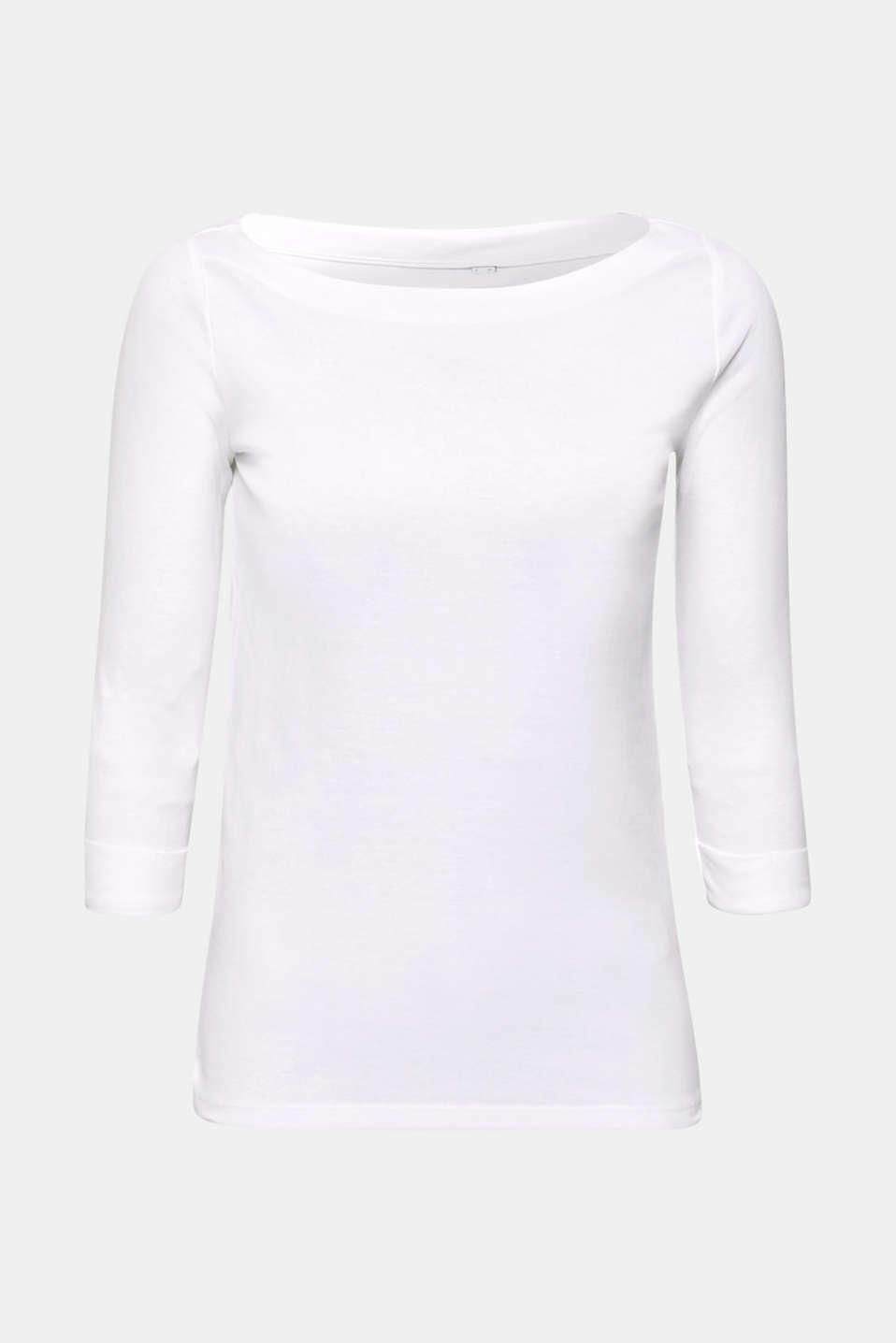 Bateau neckline top, 100% cotton, WHITE, detail image number 6