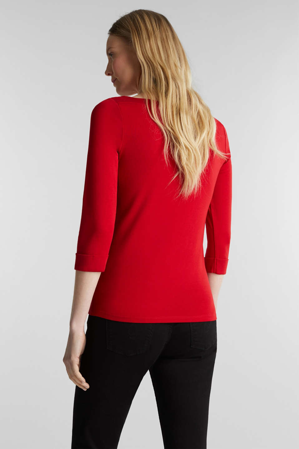 Bateau neckline top, 100% cotton, DARK RED 3, detail image number 3
