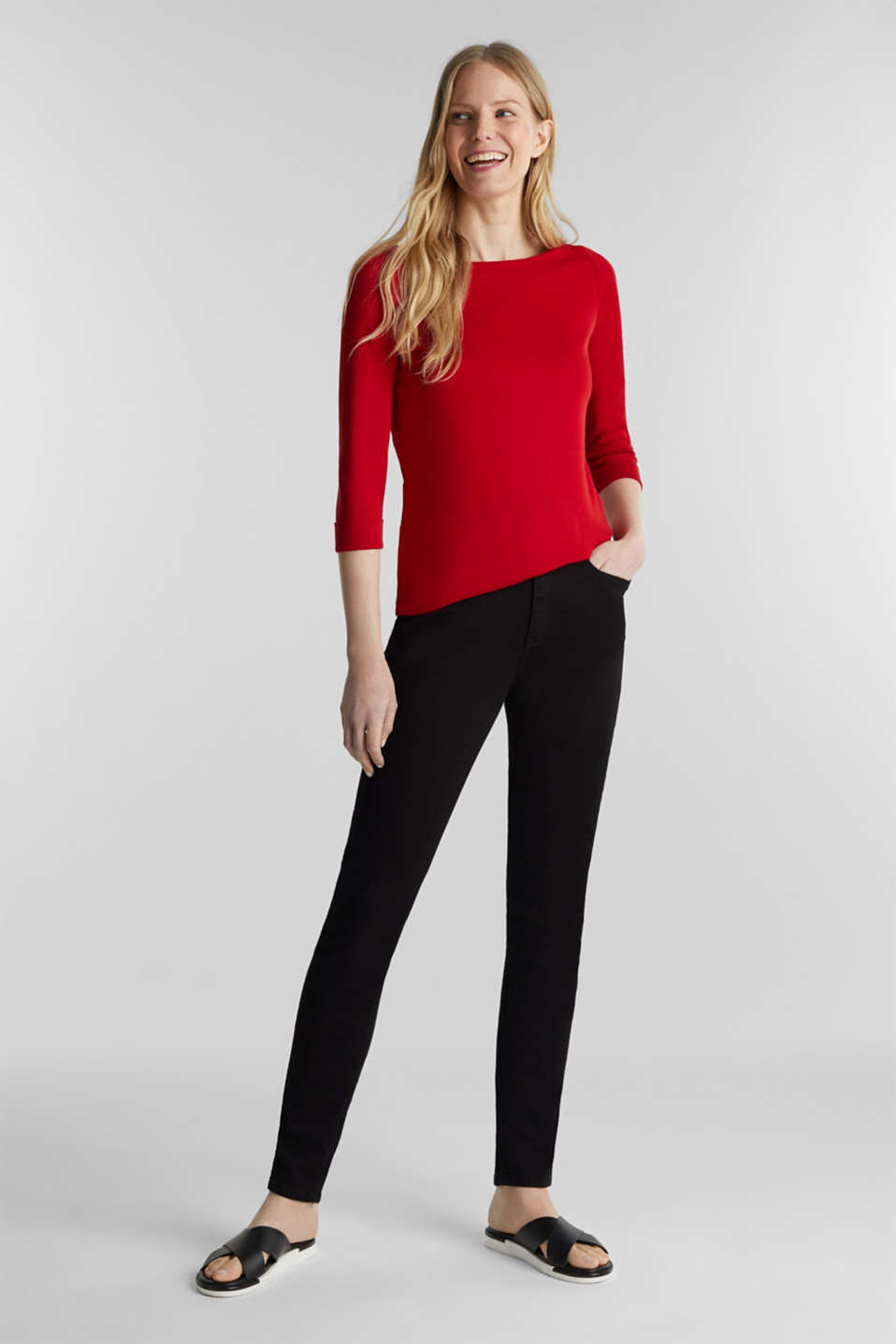 Bateau neckline top, 100% cotton, DARK RED 3, detail image number 1