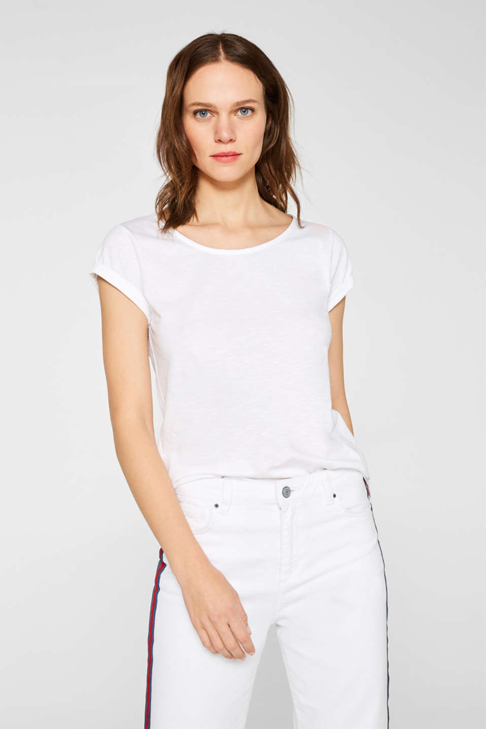 Esprit - Slub T-shirt with organic cotton, 100% cotton