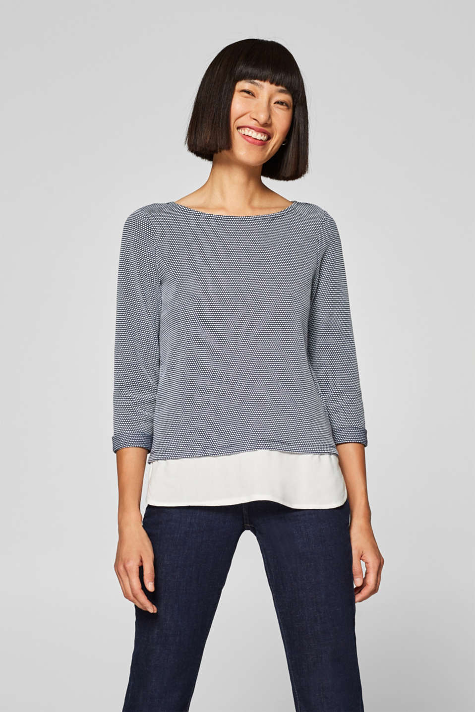 Esprit - Textured tee in a layered look