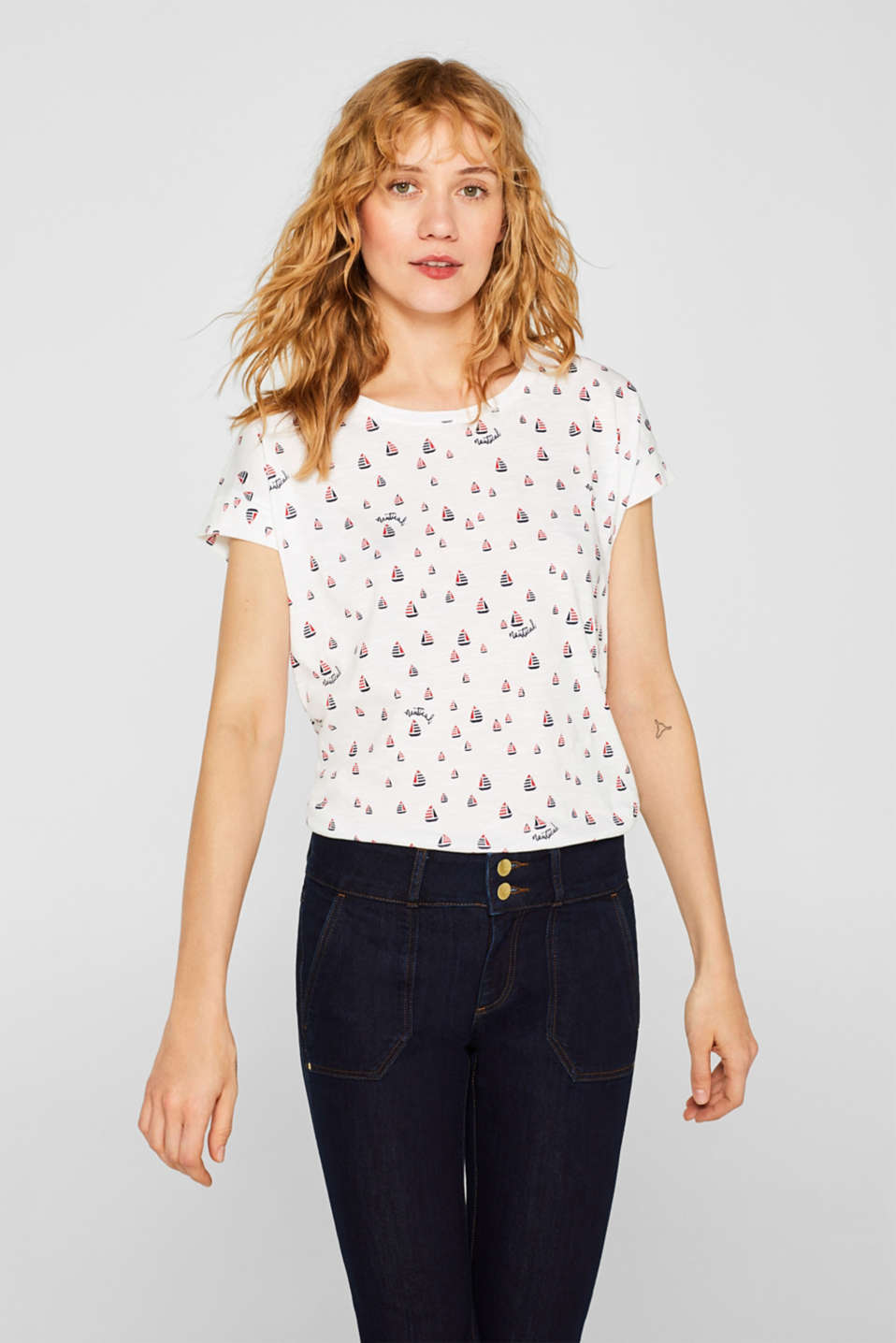 Esprit - Print top with organic cotton, 100% cotton
