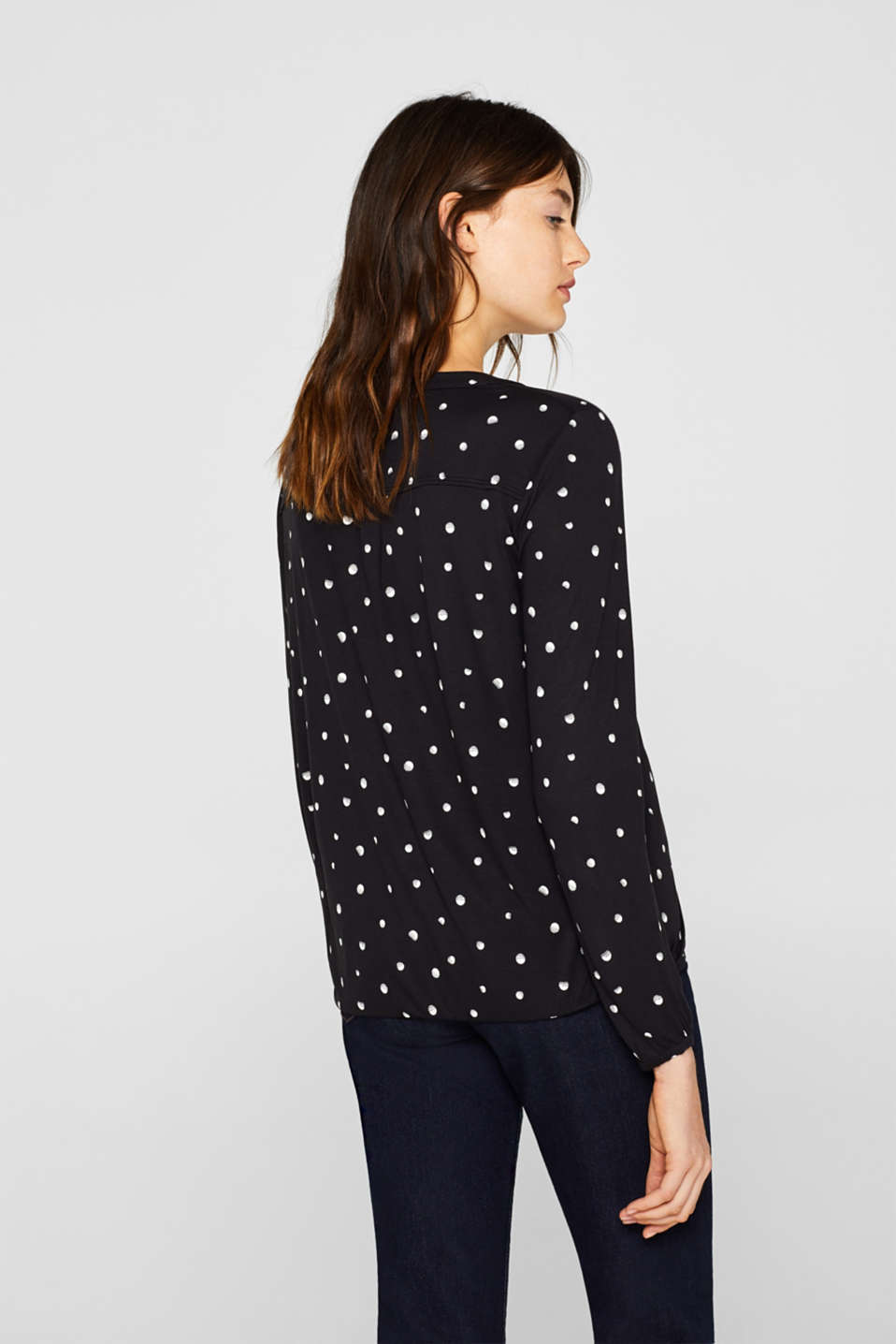 Polka dot top with cloth details, BLACK, detail image number 3