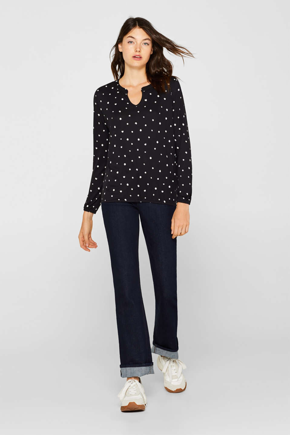 Polka dot top with cloth details, BLACK, detail image number 1