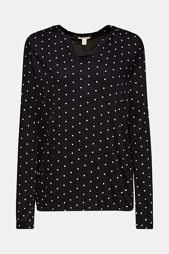 Camiseta a lunares con detalles de tela, BLACK, detail image number 0
