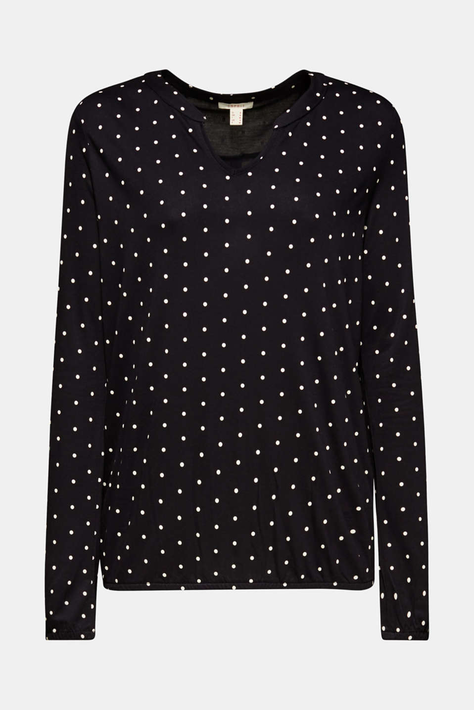Polka dot top with cloth details, BLACK, detail image number 6