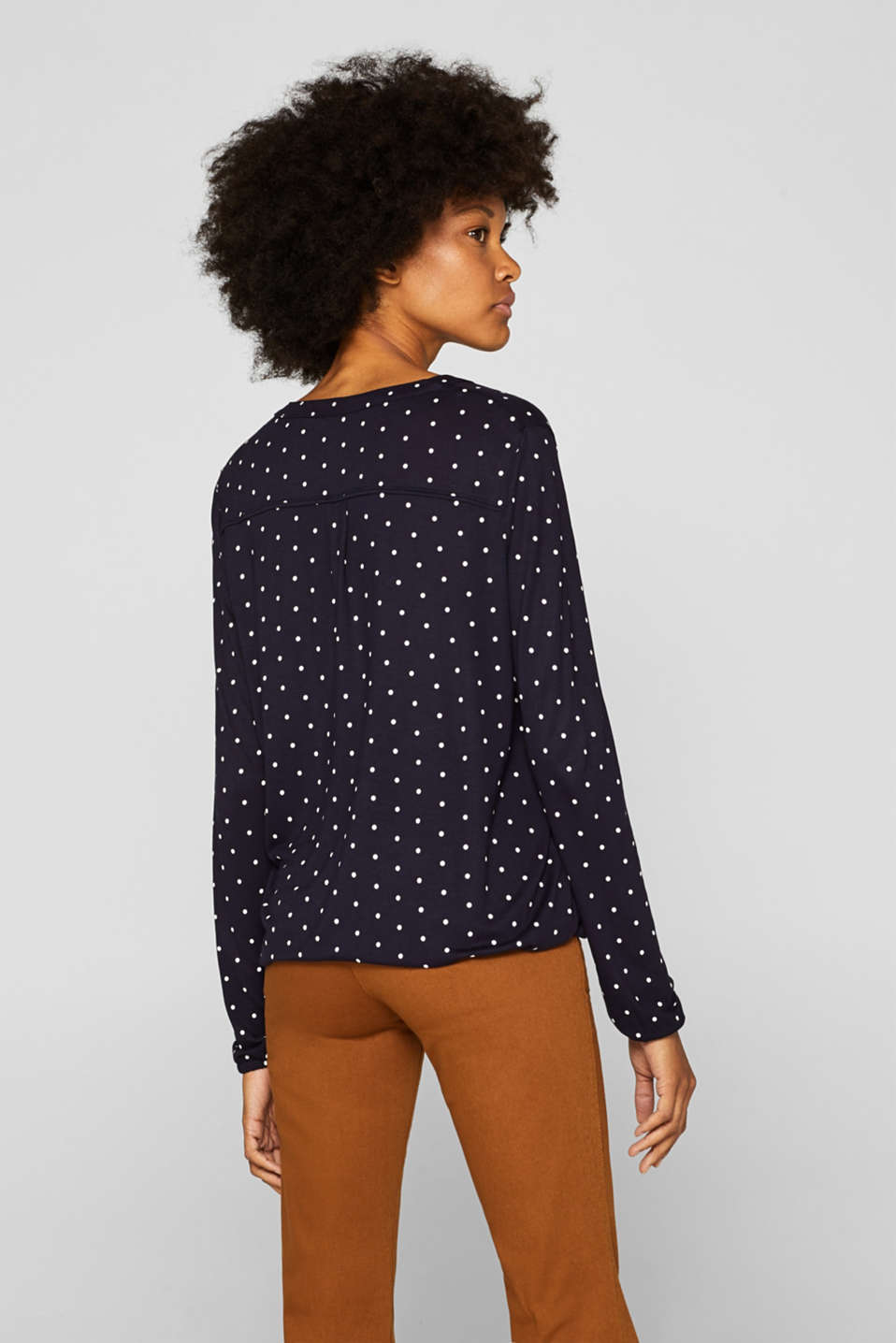 Polka dot top with cloth details, NAVY, detail image number 3