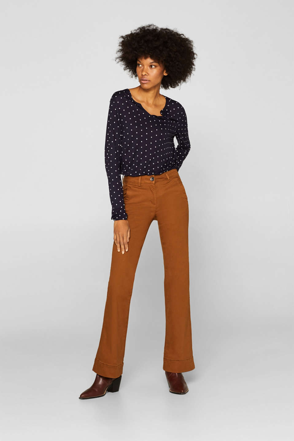 Polka dot top with cloth details, NAVY, detail image number 1