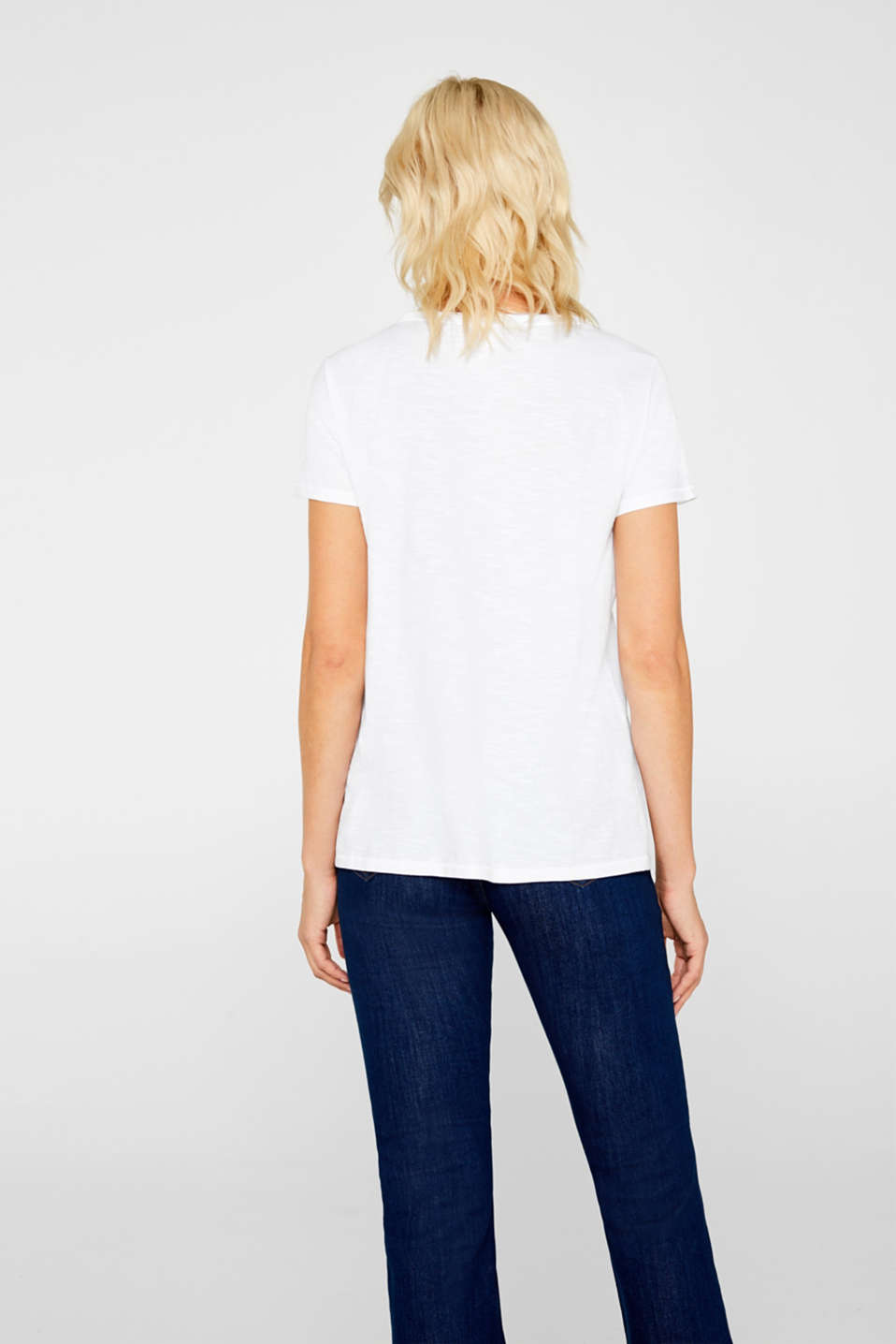 Lightweight slub T-shirt in 100% cotton, WHITE, detail image number 3
