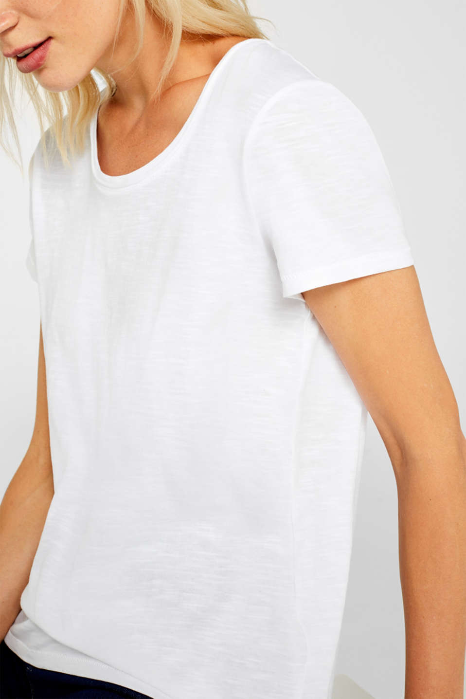 Lightweight slub T-shirt in 100% cotton, WHITE, detail image number 2