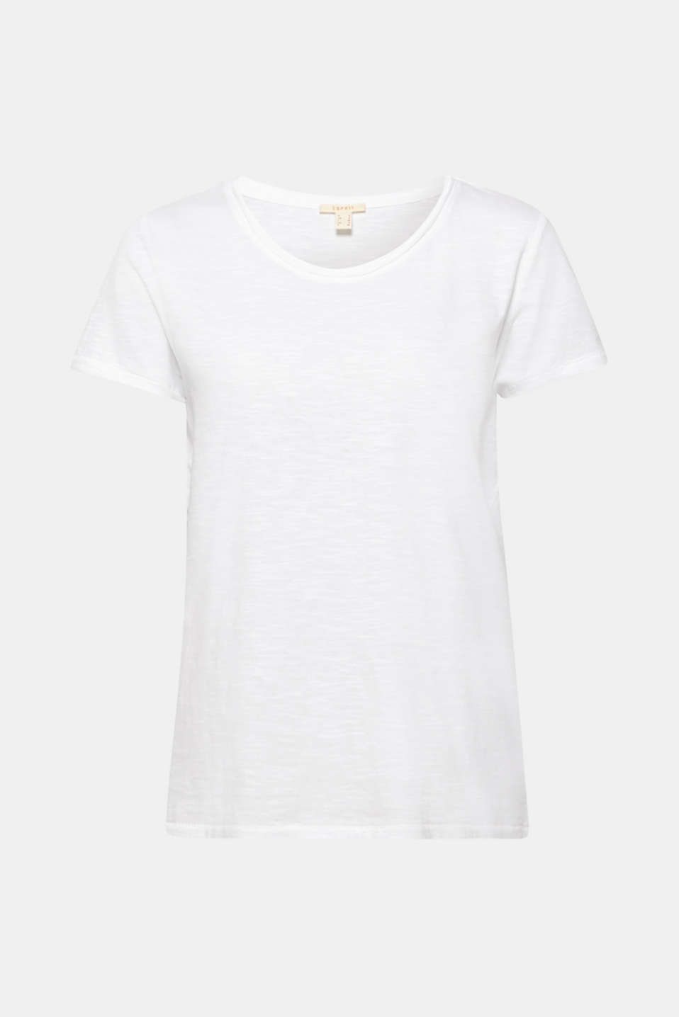 Lightweight slub T-shirt in 100% cotton, WHITE, detail image number 5