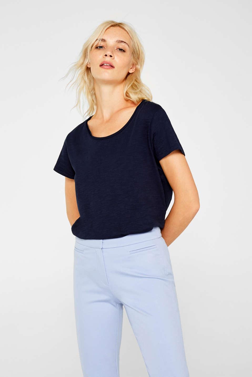 Lightweight slub T-shirt in 100% cotton, NAVY, detail image number 0