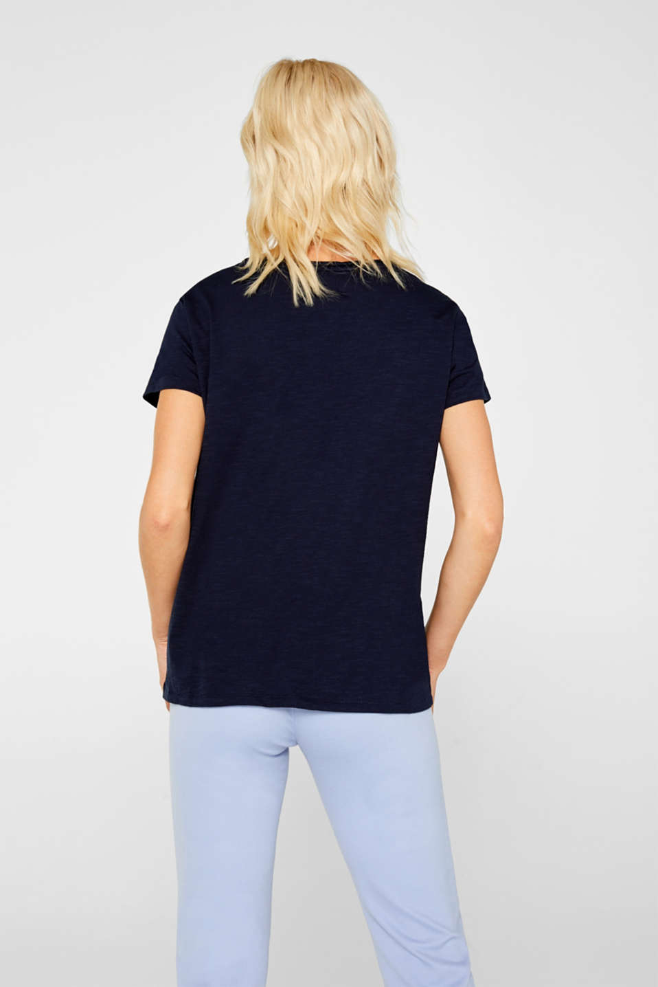 Lightweight slub T-shirt in 100% cotton, NAVY, detail image number 3