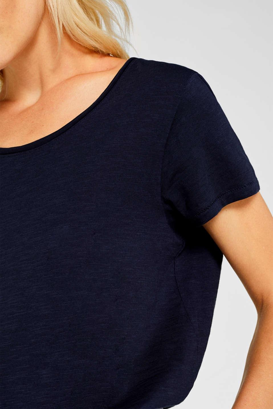 Lightweight slub T-shirt in 100% cotton, NAVY, detail image number 2